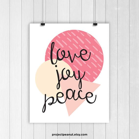 Printable Wall Art - Love - Joy - Peace - Nursery Wall Decor - Pink Decor - Baby Girl - Love Artwork - Printable Poster - Pink Theme - Pink  PLEASE NOTE:  + You are purchasing a digital file only.  + THIS IS AN INSTANT DOWNLOAD OF FILES.  + NO PRINTED MATERIALS ARE INCLUDED!  + There are NO REFUNDS as this is a digital product.  + A reminder that this is a DIGITAL PRODUCT.  WHAT DO YOU GET? 8x10 inch digital printable artwork  The files will be delivered electronically. Within minutes of…