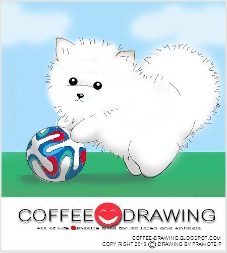 """COFFEE-DRAWING: สอนเด็กวาดรูป PART 60 """" ลูกสุนัข ปอมเมอเรเนียนน้อย..."""