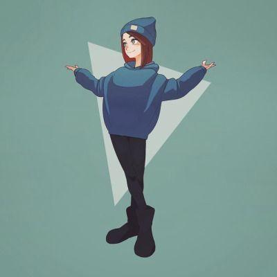 青パーカー #illustration #イラスト #fashion #青 #青コーデ #パーカー #blue