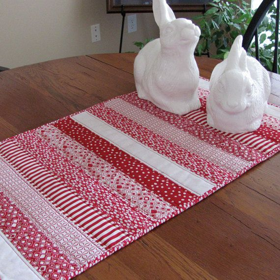 Red and White Quilted Table Runner by HiddenLakeHomespuns on Etsy