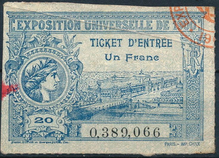 """France Paris 1900 Olympic Games RARE Original Used Ticket Z609 - """"The 1900 Paris Olympic Games were held in conjunction with the World`s Exposition."""""""