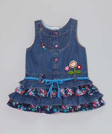 Look at this #zulilyfind! Blue Denim Floral Dress - Infant, Toddler & Girls by the Silly Sissy #zulilyfinds