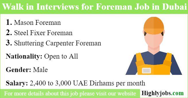 Walk In Interviews For Foreman Job In Dubai 2019 Dubai