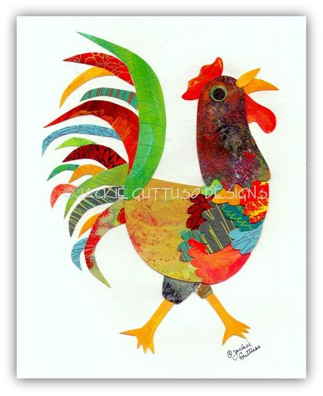 Rooster collage, Original, Chicken art, Modern rooster kitchen art, Farm nursery art, Kids animal art, Colorful rooster, Whimsical rooster