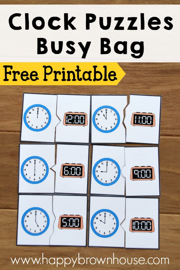 Free Printable Clock Puzzles for a busy bag or a game for kids learning how to tell time. The puzzles are self-correcting and kids will match analog and digital clocks.