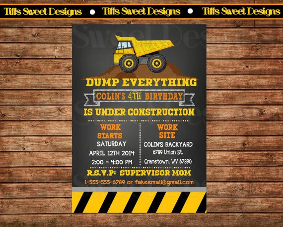 **Construction Party Invitation - Dump Truck Invitation - Custom - Personalized - Printable - Chalkboard
