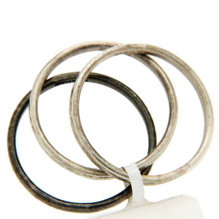 Authentic GURHAN 925 Sterling Silver Set of 3 Midnight Band Ring Size 6.5 »$520 #Gurhan #Band