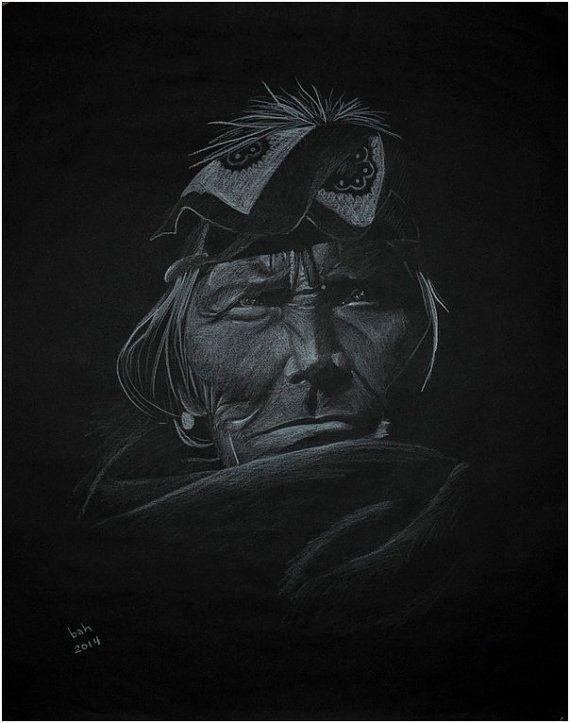 "Black and white, old native American man wearing a bandana, Zuni Si Wa Wata Wa, original pencil drawing, 20"" x 25"""