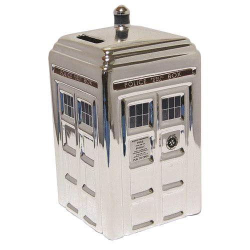 Doctor Who Spardose Tardis Silver   Coole Tardis Spardose aus der Tv-Serie `Doctor Who` - Größe: ca. 18 x 11 cm - Material: Keramik Doctor Who Spardose - Hadesflamme - Merchandise - Onlineshop für alles was das (Fan) Herz begehrt!