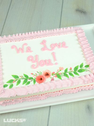 Floral Laurel Sheet Cake mit Lucks Floral Laurel Designer Prints® Design.   – Spring Desserts by Lucks
