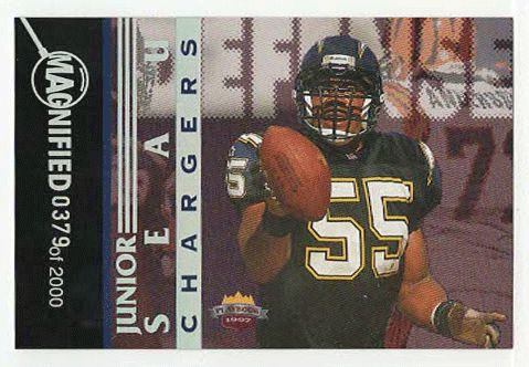 Junior Seau # DF 8 - 1997 Score Board Playbook By The Numbers Football - Magnified Silver