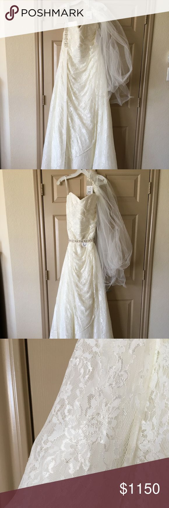 A-Line Lace Wedding Dress w/ Beaded Belt and Veil NEVER BEEN WORN! Lace all over... Size 16W Bust: 43 1/4 Waist: 37 1/4 Low Hip: 46 3/4 Length: 60-61  Long story short, I was engaged and things didn't work out. Dress has never been worn... gorgeous a-line lace gown with beaded belt and veil to match. David's Bridal Dresses Wedding