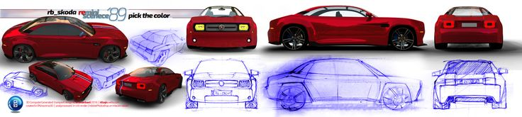 The idea here is to make a concept car inspired by a vehicle produced back before 1989 year, named Skoda 120, quite known in our region. Now similar to chevrolet Camaro or Charger, i'd like to redesign an older model. Taking the proportions of a nowadays 5 -door sedan and its platform. Here will be a concept named for example Skoda 2120, or as I later decided SkodaReminiscence89 as you can see on stickesrs too. TNX funs. Read some more of this story on a competition page…