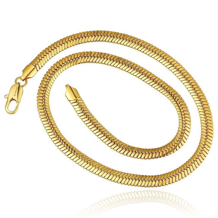 Мужская 10 мм Змея Цепи 18 К позолоченные Желтый золотые ожерелья 55.5 г твердого n816 подарочные мешочки 2015 Новые Ювелирные Изделиякупить в магазине Rose Fashion Jewelry CO., LTD.наAliExpress