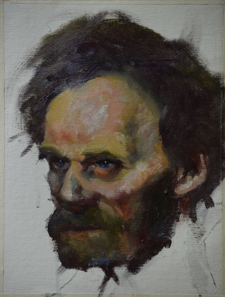 Donald Burrow 3. Final painting of the face. As this was just a personal study I had no background. Background gives clews to the light and is very useful for receding edge work.