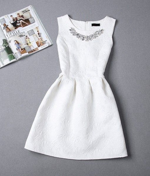 aline printing sleeveless casual dress white bridal shower