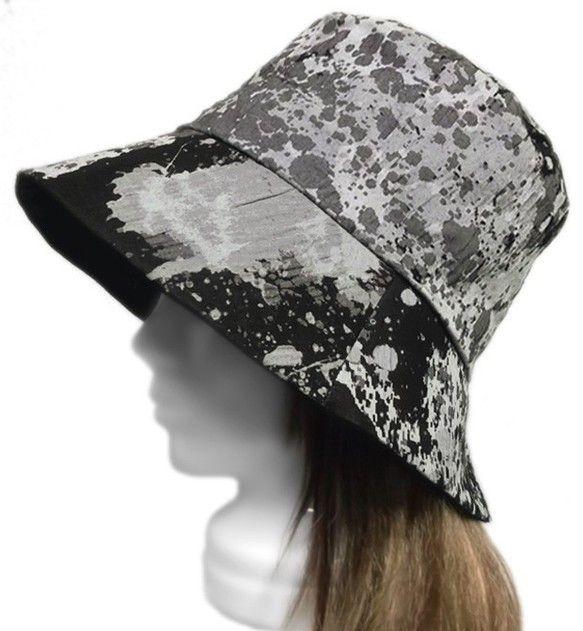 スプラッシュペイント織ハット(ワッシャー加工)◆黒系|帽子|DOUBLECLUTCH|ハンドメイド通販・販売のCreema
