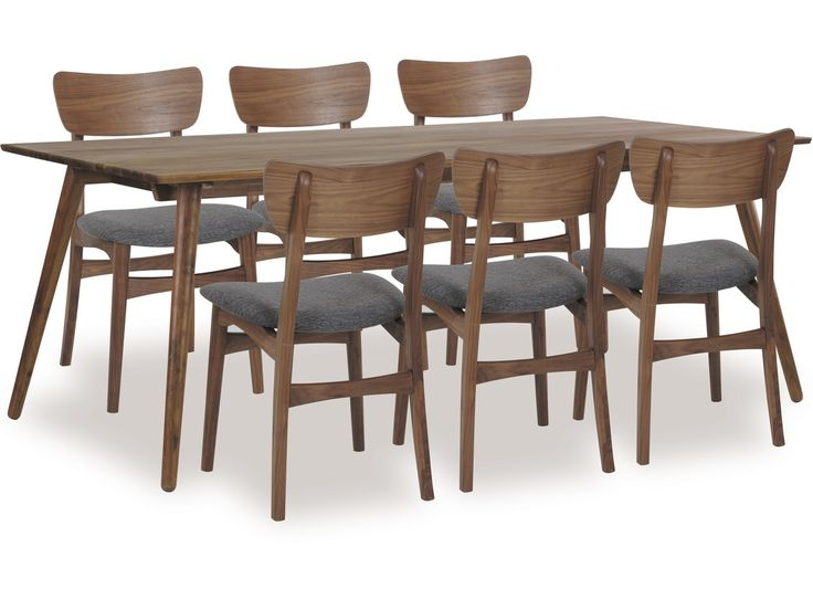 Table - solid walnut. Chairs - tweed fabric seat.  Solid walnut frame.  Table and chairs available separately. Mix'n'match styles to suit your home.