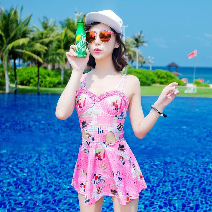 $26.09 (Buy here: https://alitems.com/g/1e8d114494ebda23ff8b16525dc3e8/?i=5&ulp=https%3A%2F%2Fwww.aliexpress.com%2Fitem%2F2016-new-odd-sea-Siamese-skirt-thin-Korean-boxer-cover-belly-swimsuit-girl-7103%2F32709267900.html ) Retro Bikinis Women 2016 Push Up Bikini Set Large Size Swimsuits Swimsuit Suits Girl 7103 Maillot De Bain Femme Biquinis for just $26.09