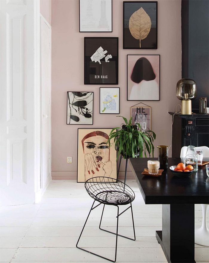 Great gallery wall in this colourful home