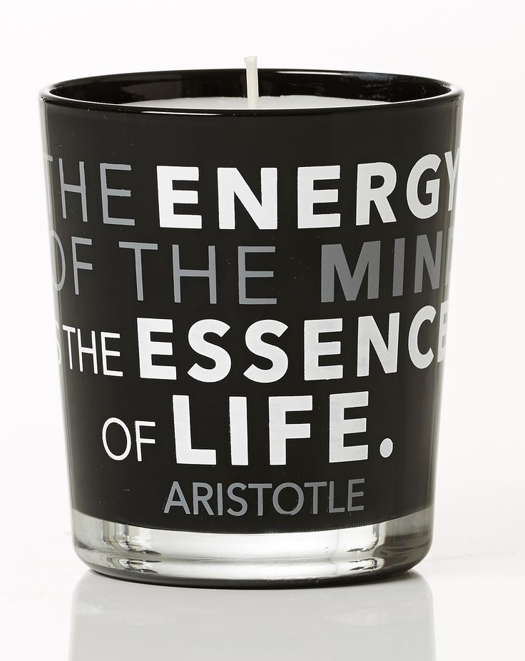 The energy of the mind is the essenec of life - Aristotle. Orange scent. Dimension: D8x9cm. Material: paraffin.
