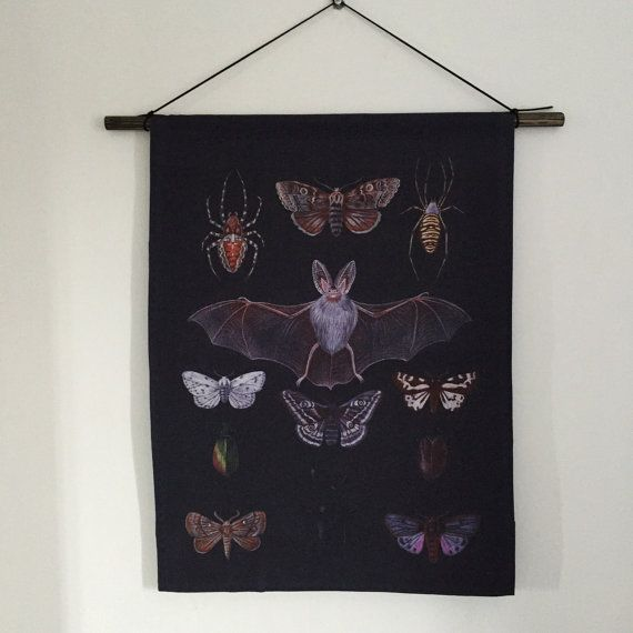 Afterlight wall hanging  bats moths spiders by thefloralfoxart