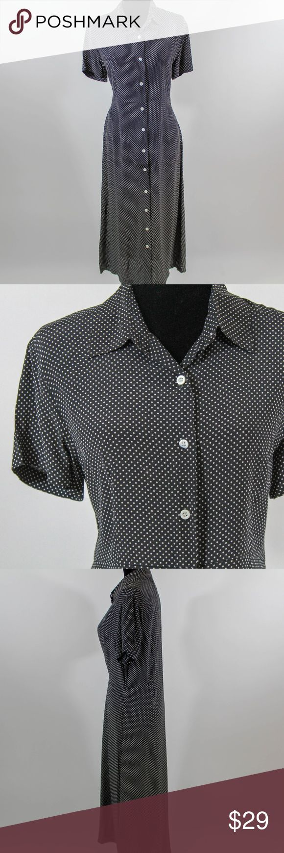 Style & Co Short Sleeved Polka Dot Maxi Dress sz 8 Rayon short sleeved maxi dress by Style & Co. - black with white polka dots.  Buttons up all the way - one of the buttons has a small chip (pictured).  About 49 inches long, 19 inch chest, 18 inch waist.  Classy vintage look!  Sz 8 (B10) Style & Co Dresses Maxi