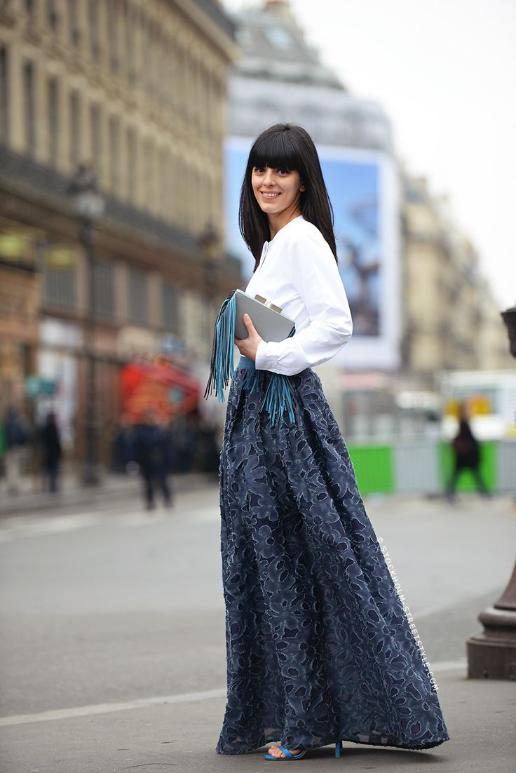 beautiful blue maxi #fashion #street-style #accessories