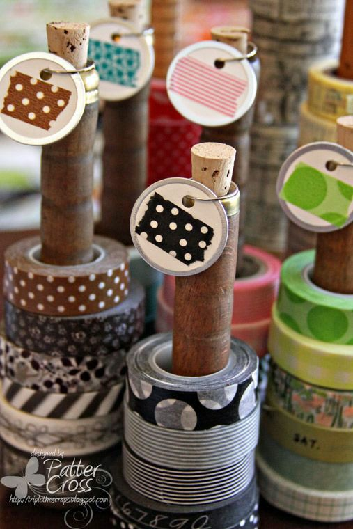 Papercrafting Organization: Washi Tape-On Vintage Thread Spools