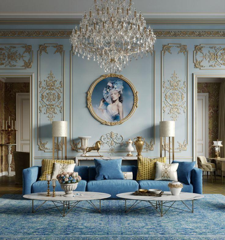 Blue Living Room Decor In Art Deco Style With Blue Velvet Sofa In