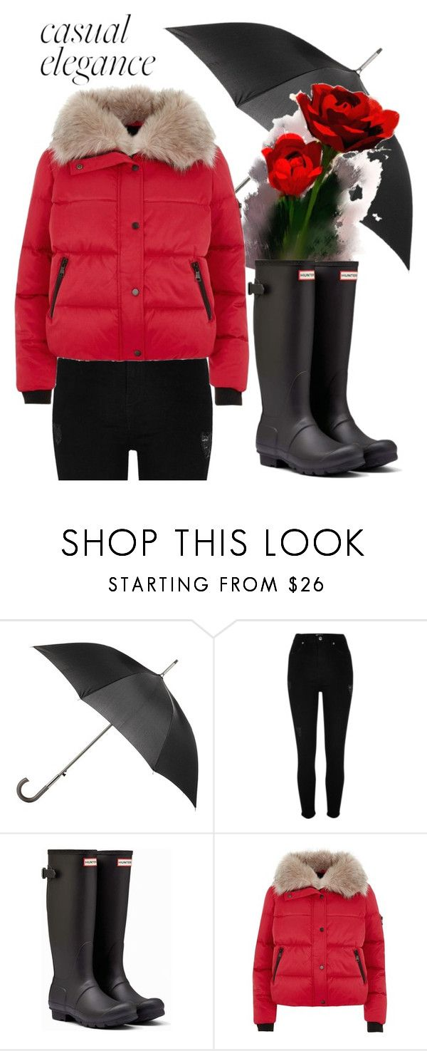 """Red Puffer Coat"" by grigoriadi-anna ❤ liked on Polyvore featuring Totes, River Island and Hunter"