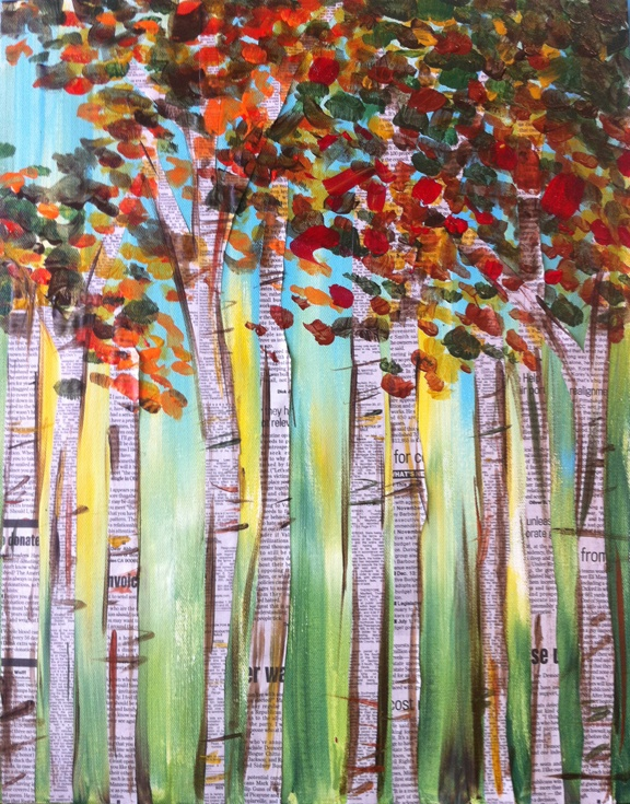 fall trees with newsprint trunks ~ thinking great cutting activity after do a painting wash then it's on to dots or fingerprints -lots of motor skill work and a great finished project