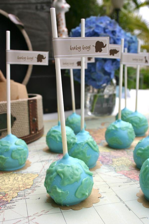 World cake pops for a travel themed baby shower