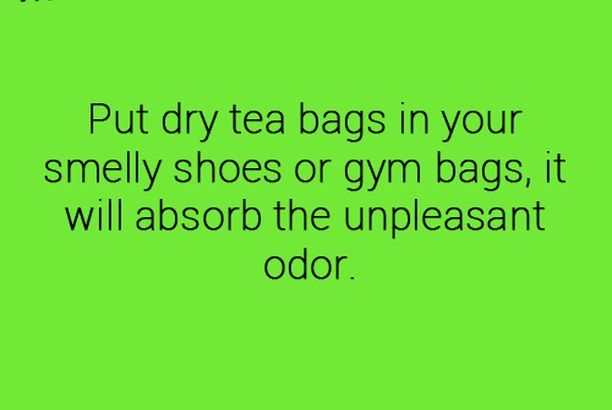 Dry tea bags in shoes to help remove odors