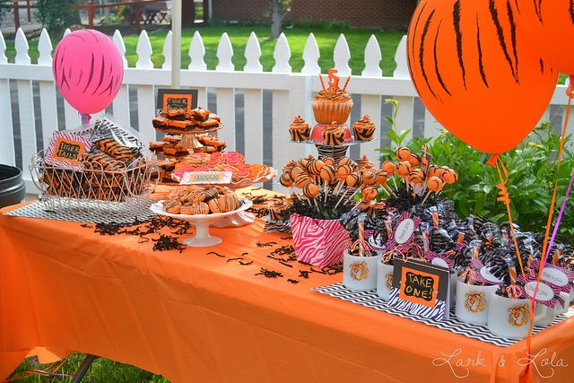A tiger themed party spread - Tiger Tails pic to do as goody bags maybe? Tiger Juice...