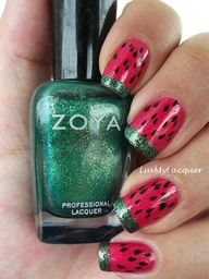 Fruit inspired mani feat Zoya Nail Polish in Kimber and Ivanka! Strawberry