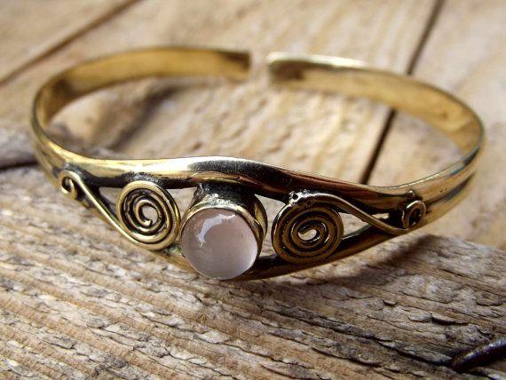Brass bracelet with pink quartz stone brass by silveringjewelry