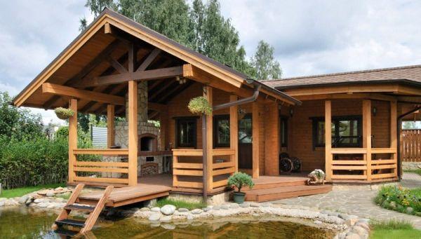 HappyModern.RU | Проекты бань с террасой и барбекю (28 фото): зона отдыха 3 в 1 | http://happymodern.ru