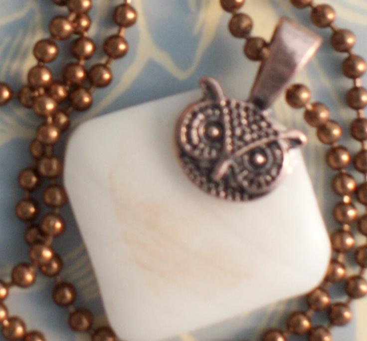 Copper Owl on glass pendant. $15.00, via Etsy.