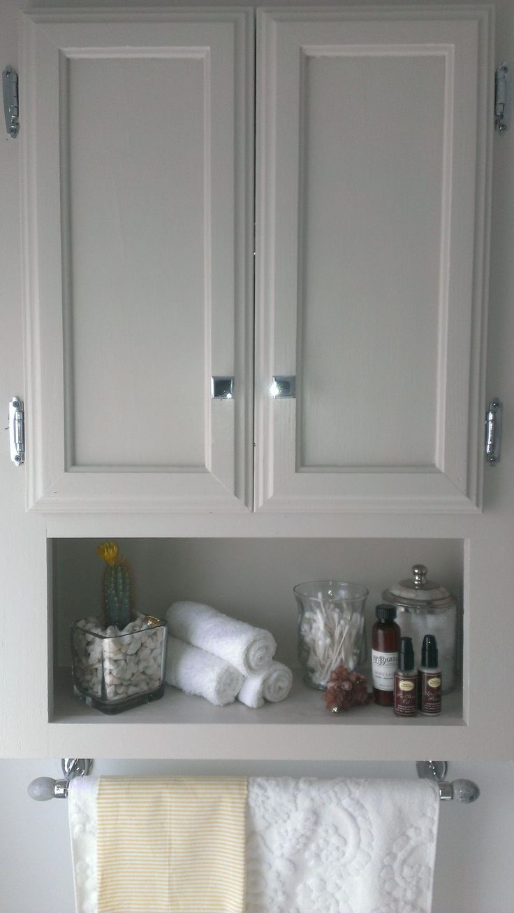 over the toilet storage, chrome knobs from restoration hardware, monogrammed tow…   – bathroom shelves