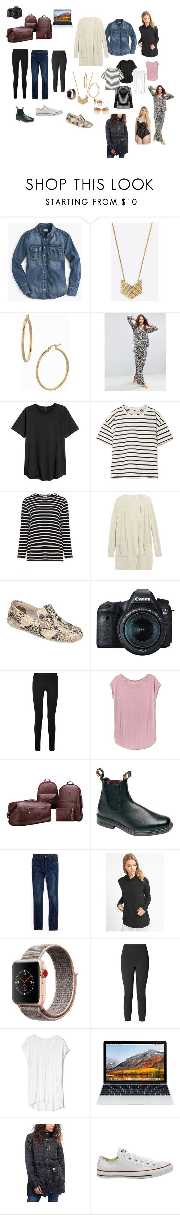 """CR Packing List"" by meghan-walker-1 on Polyvore featuring J.Crew, Bony Levy, ASOS, Current/Elliott, Frapp, Madewell, Cole Haan, Eos, The Row and Blundstone"