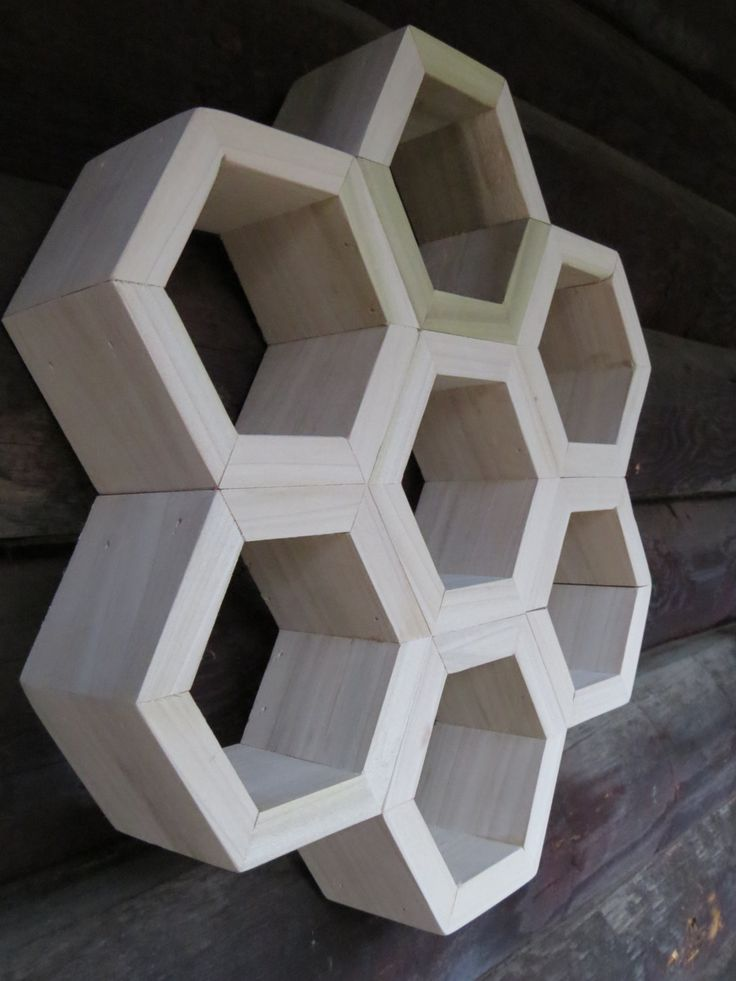 LITTLE HONEYCOMB: Set of 7 Hexagon Shelves custom display shelf modular wood bee hive furniture (95.00 USD) by EONeyeofnature