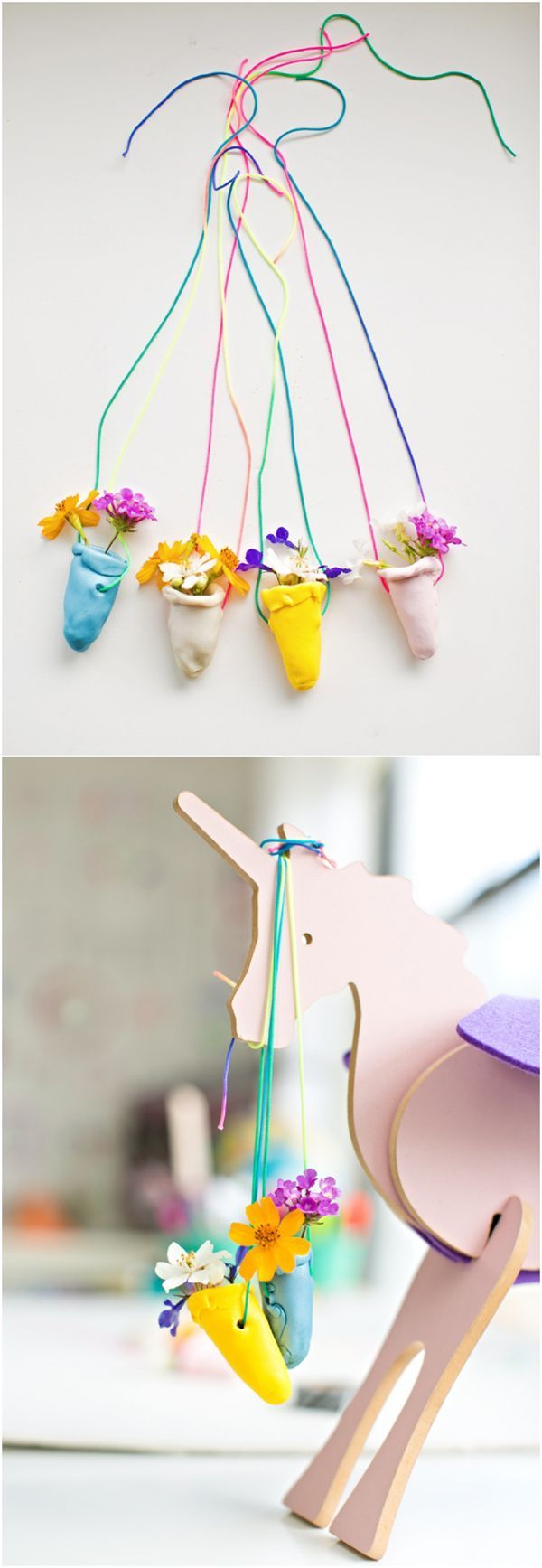 DIY Clay Flower Vase Necklace. Such a cute nature flower craft for kids!