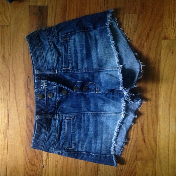 American Eagle Outfitters high waisted shorts Super cute American Eagle Outfitters high waisted cut off shorts. Size 2. Only worn several times. Bottoms are frayed for cute distressed look. Love these shorts and wish they still fit! American Eagle Outfitters Shorts Jean Shorts