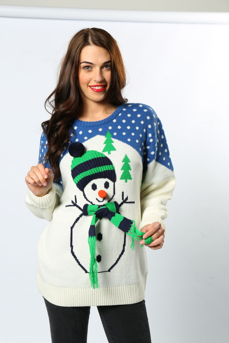 Frosty the Snowman, was a jolly happy soul. So he should be with his 3-D carrot nose, hat and scarf! The ultimate unisex jumper. #ChristmasJumper #Snowman #FrostyTheSnowman #AdultsChristmasFashion #FestiveWear #Novelty #Wholesale #Fun #TheChristmasJumperGrotto #NationalChristmasJumperDay