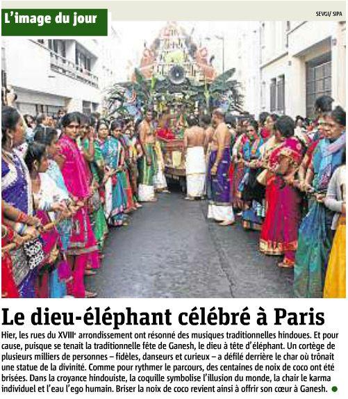 코끼리 신을 기리는 인도축제 '가네쉬 축제'가 프랑스 파리 한 가운데서 열렸다.