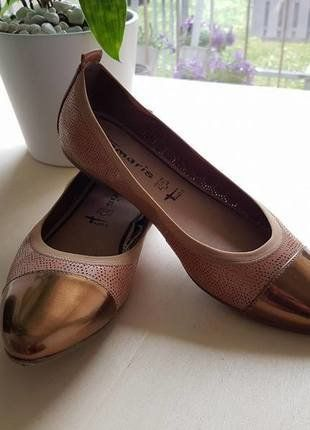 Kaufe meinen Artikel bei #Kleiderkreisel http://www.kleiderkreisel.de/damenschuhe/ballerinas/149140182-tamaris-leder-ballerinas-mit-kupferfarbener-spitze