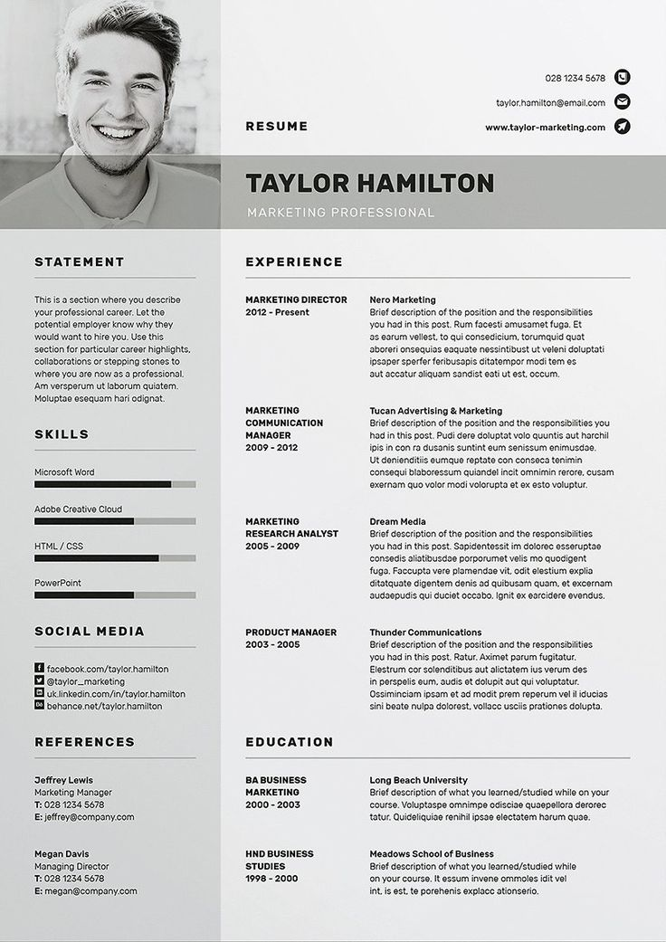 professional resume template cv template with free cover letter template ms word photoshop - Free Marketing Resume Templates