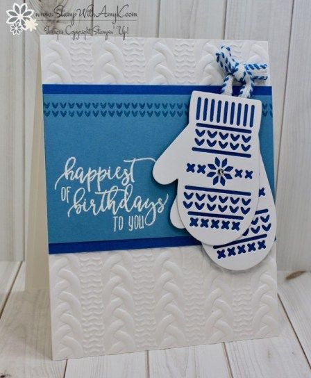 Stampin' Up! Smitten Mittens CAS Birthday Card – Stamp With Amy K