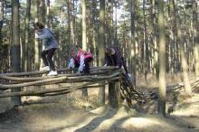 Speelbos Everzwijnbad in Sint-Joris-Weert: alternatieve speeltuin, klimbrug, houten slang, xylofoon, reuzenmikado, ...